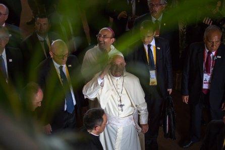 El Coliseo Regional de Madre de Dios fue la primera parada del Papa Francisco en Puerto Maldonado.