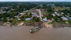 Vista aérea de Jenaro Herrera: ubicada a 3 horas por río de Nauta, que se encuentra a 2 horas de Iquitos.