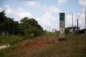 Trayecto de la carretera entre Jenaro Herrera y Colonia Angamos.