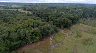 Vista aérea del trayecto entre Jenaro Herrera y Requena. Se puede ver zonas donde actualmente se realiza ganadería.