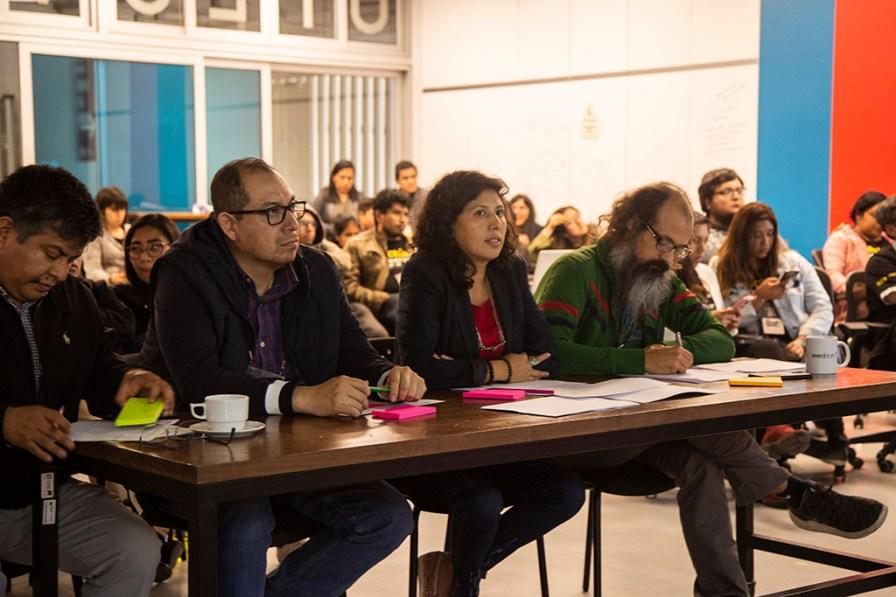 Jorge Abad, director del CITA UTEC; Rolando Vivando, del Minam; Isabel Calle, directora de la SPDA; y Mariano Crowe, experto en emprendimientos tecnológicos. Foto: Jhonny Salazar / SPDA