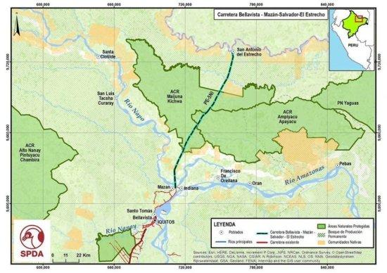 5.- Luego del primer tramo, la vía llegará hasta Mazán, Salvador y finalmente a San Antonio del Estrecho, en la frontera con Colombia.