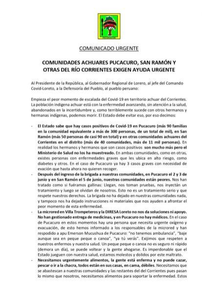 Comunicado emitido por los apus de Pucacuro, Peruanito y San Ramón, y Feconacor.