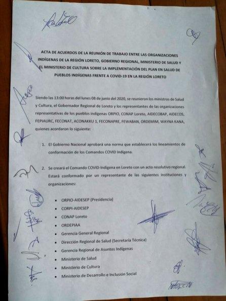 Acta de acuerdos de la reunión entre las organizaciones indígenas, el Gorel, el Ministerio de Salud y el Ministerio de Cultura.
