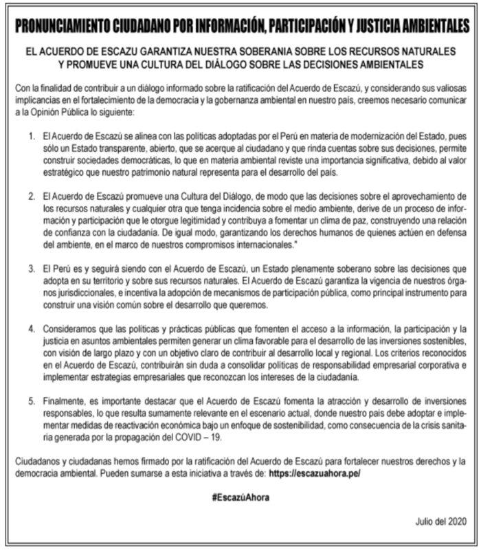 Pronunciamiento ciudadano por la ratificación del Acuerdo de Escazú