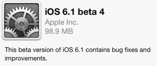 ios6.1 beta4 Apple lanza la cuarta beta de iOS 6.1