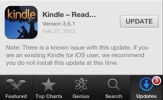 error kindle Si usas la aplicación de Kindle para iOS, no actualices a la versión 3.6.1