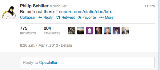 Screen Shot 2013 03 07 at 6.57.07 PM Phil Schiller señala los problemas de seguridad de Android desde su Twitter