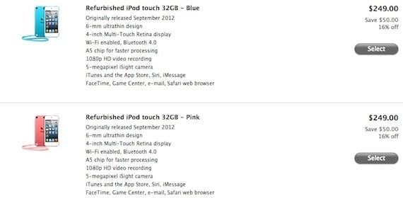 ipod touch refurbished El iPod Touch 5G refurbished llega a la Apple Store americana