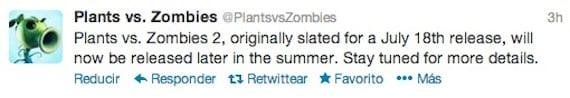 retraso plantas zombis 2 El lanzamiento de Plantas contra Zombis 2 se retrasa a finales de verano