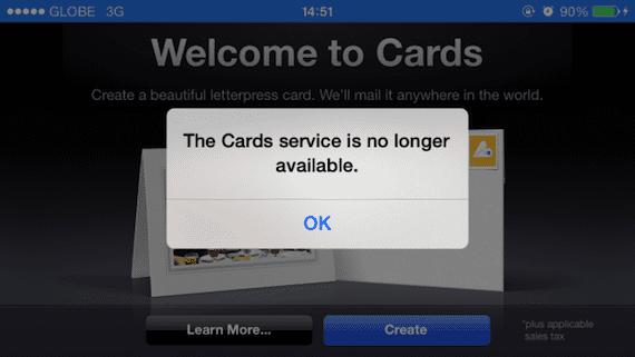 cards Apple deja de ofrecer el servicio de la aplicación Cards para iOS
