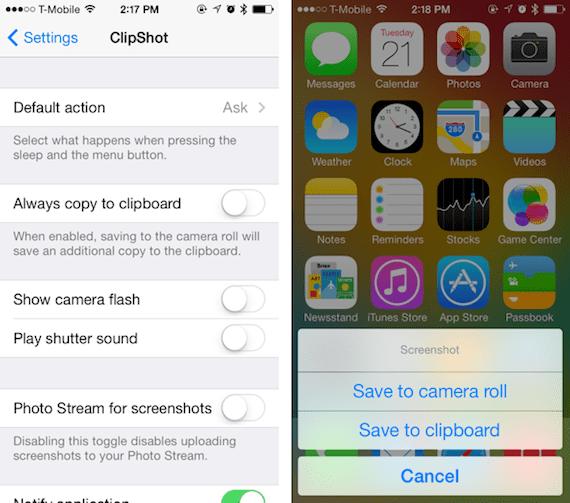 ClipShot ClipShot: más opciones para las capturas de pantalla en iOS (Cydia)