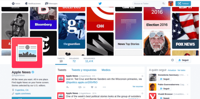 Apple News en Twitter