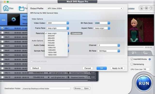 MacX DVD Ripper Pro: Cambiar formato o resolución