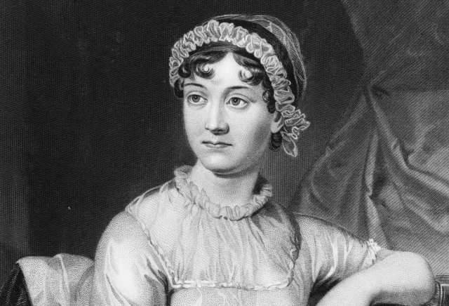 English novelist Jane Austen, shown here in an original family portrait, was born in December 1775.