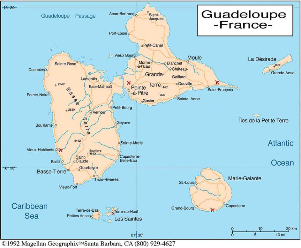Les Antilles et ma Guadeloupe chérie ! carte de guadeloupe