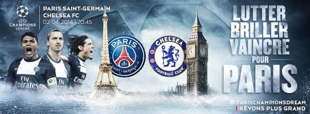 couverture facebook officle PSG match contre chelsea