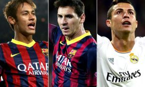 Trio ballon d'or 2015 Neymar-Ronaldo-Messi