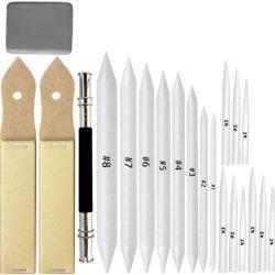 17 Difuminos 2 sacapuntas lija 1 extensor lápiz y una goma