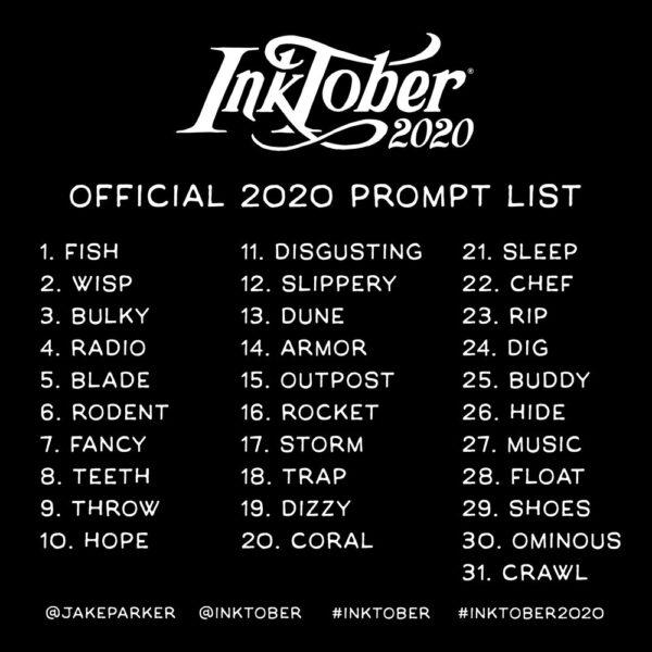 Lista oficial Inktober 2020