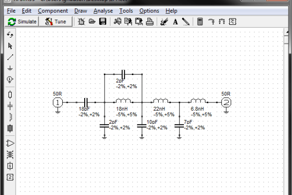 The main RFSim99 display, showing a multi-pole low pass filter.