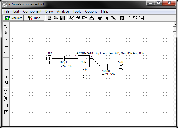 Import S-parameters (1 or 2 port) into your circuits