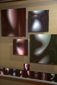 A photograph of a number of images attached to a gallery wall. The images are curves in different colours which almost but not quite resemble faces. At the bottom is a small portrait of Charles Darwin, the image that the other images are being evolved to resemble.