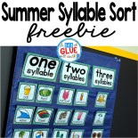 Summer is in full gear here in Texas and what better way to celebrate than with a Summer Syllable Sort. This product is something that you can easily do at home over the summer for a refresher activity or place in a center for classroom use. Teachers and parents have enough on their plate so low prep is sometimes the right answer and this resource requires you to do very little. Simply print and laminate for extra durability. Cut out a few cards and then you are ready to go!