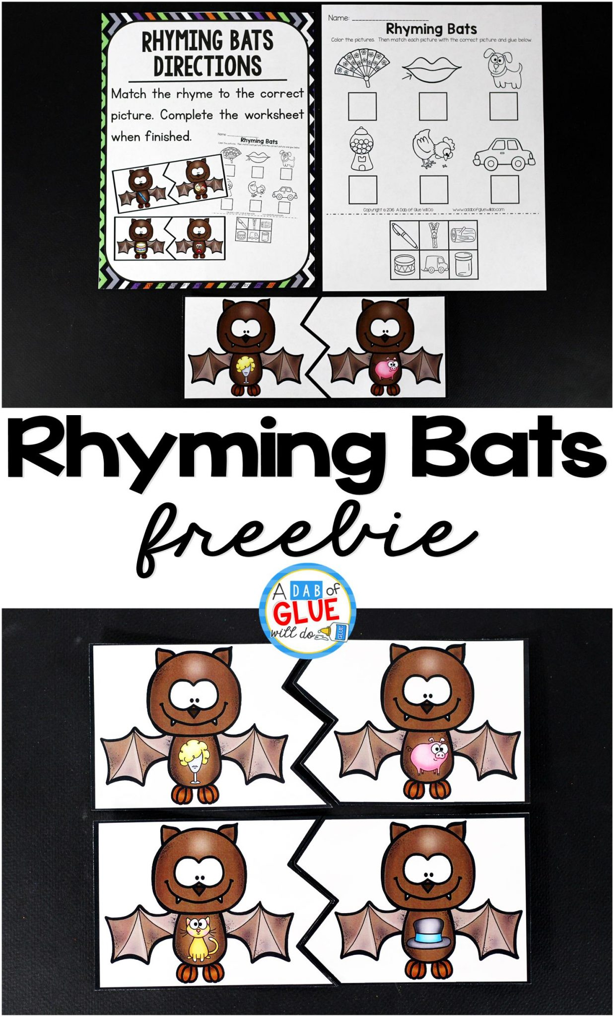 Rhyming Bats Literacy Center