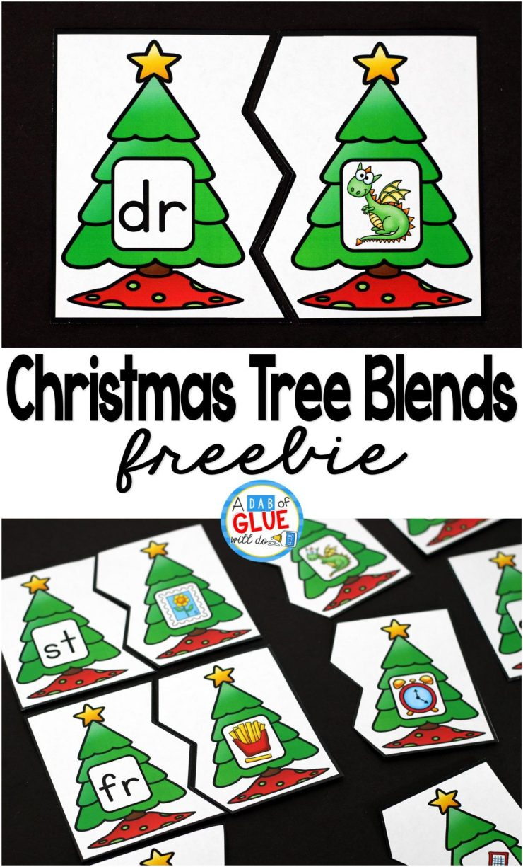 Christmas Printable | Christmas Tree Blend Printable Puzzles is the perfect addition to your literacy centers this holiday season. This free printable is great for kindergarten, first grade, and second grade students.