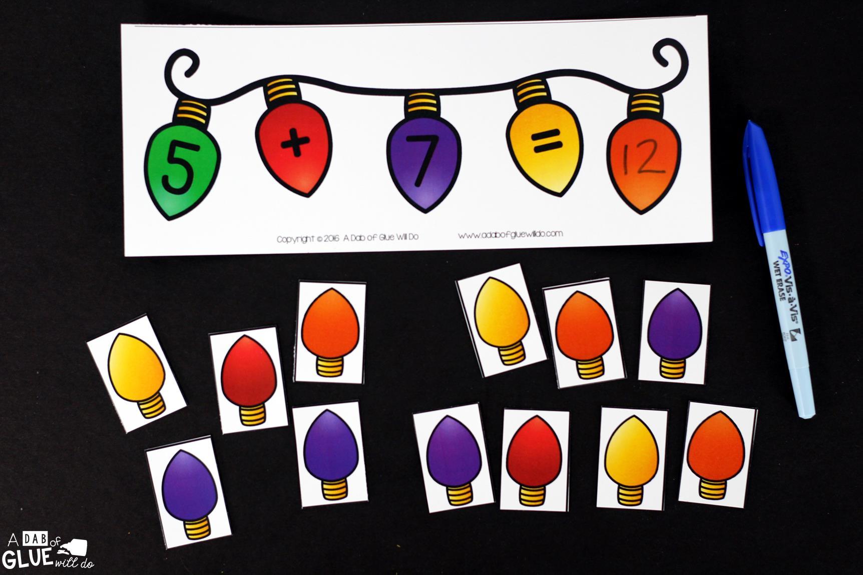 Christmas Lights Addition Printable Math Worksheets