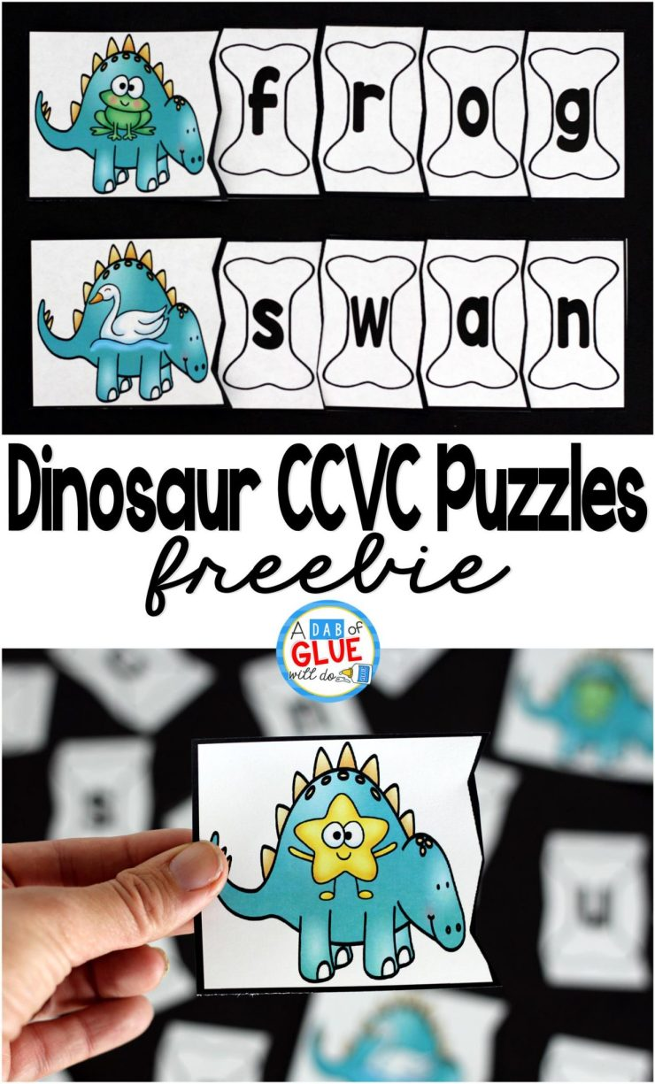 Dinosaur CCVC Puzzles is the perfect addition to your literacy centers anytime of the school year. This free printable is ideal for kindergarten and first grade students.
