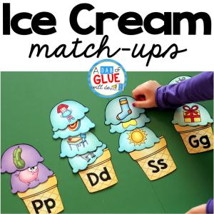 Ice Cream Initial Sound and Number Match-Ups