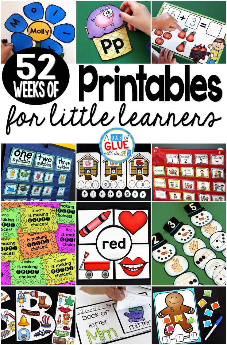 Planning and teaching is a non stop job! You work tirelessly and I applaud you each day for the amazing difference you are making in the lives of your students. To help you along the way, here are 52 Weeks of Printables for Little Learners! Just print and learn every week of the year!