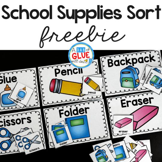 School Supplies Sort Printable