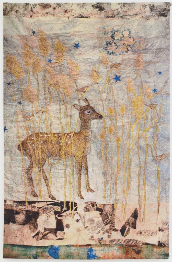 Kiki Smith, Fortune 2014, arazzo in cotone jacquard con interventi pittorici, Oakland, California, Magnolia Editions. Per gentile concessione dell'artista e della Pace Gallery