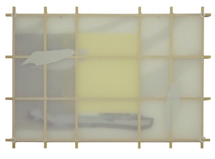 Jean-Baptiste Lagadec, 'Untitled (Structure study)', 2017, 60 x 40 cm, wood, string, fabric, grid, paper, acrylic. Courtesy of the artist and Unit 1 Gallery | Workshop
