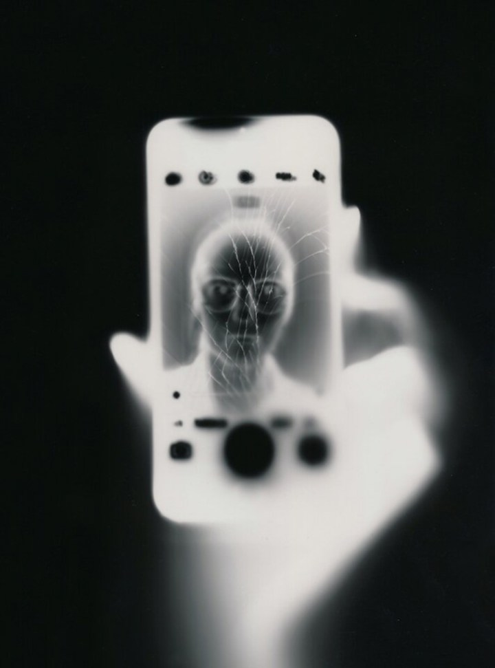 Tobias Becker, 'Ilfospeed Selfies' 2018, smartphone light on analog photographic paper, 18 x 24cm. Courtesy of the artist and Unit 1 Gallery | Workshop