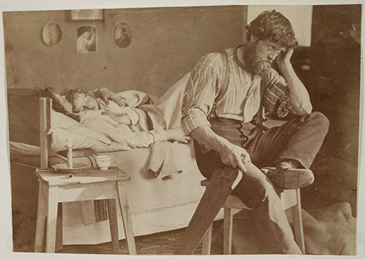 Oscar Gustaf Rejlander, British, born Sweden, 1813–1875, Hard Times (The Out of Work Workman's Lament), 1860, Albumen silver print. Image: 13.8 x 19.7 cm (5 7/16 x 7 3/4 in.), George Eastman Museum, purchase. Photo: Courtesy of the George Eastman Museum. EX.2019.5.109