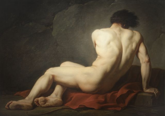 Jacques-Luis David, Nudo maschile detto Patroclo, 1780, Olio su tela, 121,5 x 170,5 cm. © Cherbourg-en-Cotentin, muséè Thomas
