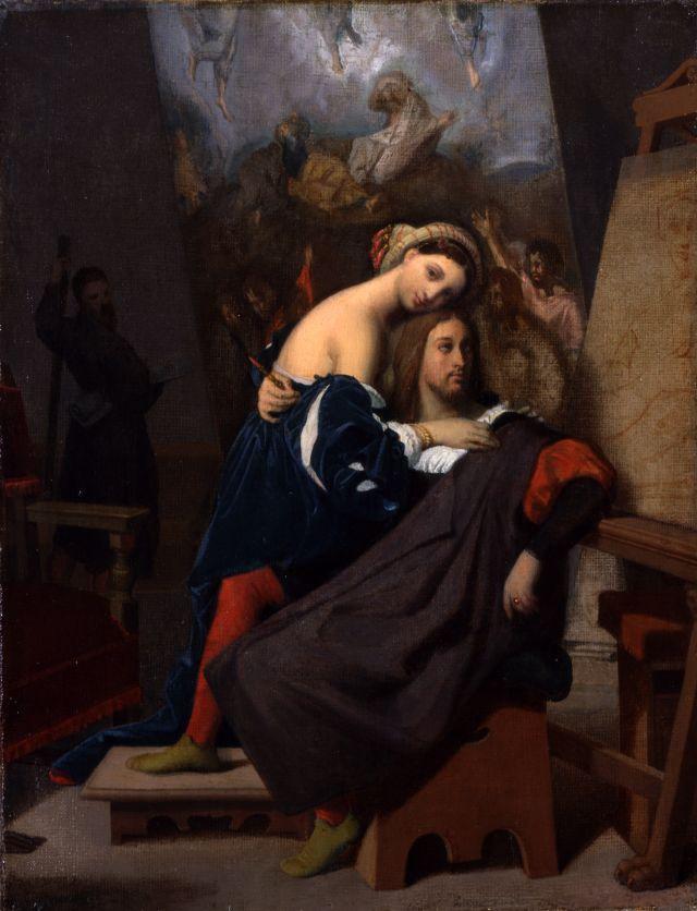 J.A.D. Ingres, Raffaello e la Fornarina, 1848, Olio su tela, 35,56 x 27,31 cm. Columbus museum of art, Ohio: bequest of Frederick W. Schumacher