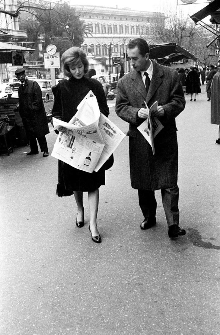 Monica Vitti e Michelangelo Antonioni, Roma, 1958. Foto Paolo Di Paolo, © Archivio Paolo Di Paolo