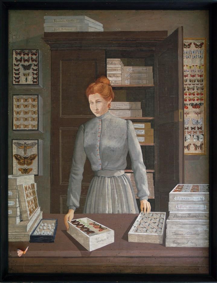 """La venditrice di farfalle"" (The butterly seller), 1938. Tempera on panel. Cm 120 x 150h. Courtesy Fornasetti"