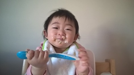 Baby getting messy with food