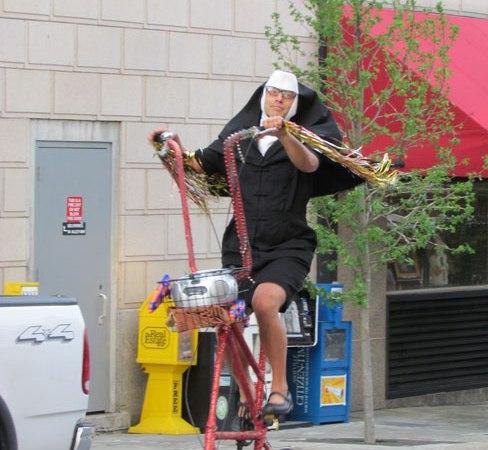 The cycling nun of Asheville, NC.