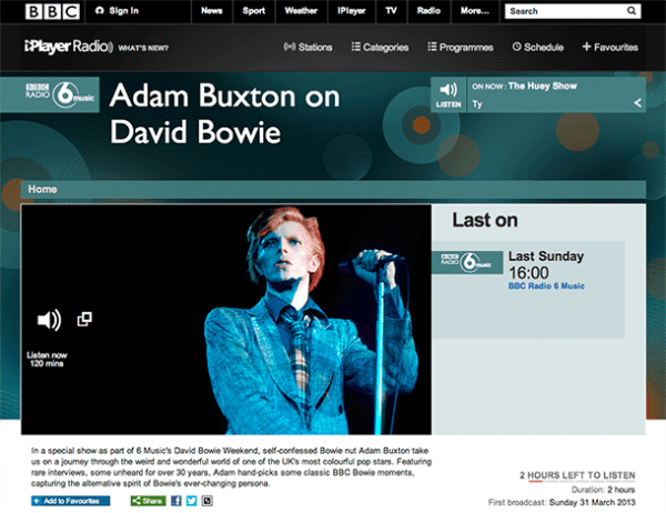 Listen again to Adam Buxton's David Bowie documentary on ...