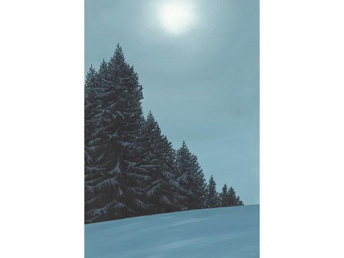 Lesgets France Attew Painting Landscape artist art ski snowboard winter Snow Alpine Alps Pine Montagne Alpes