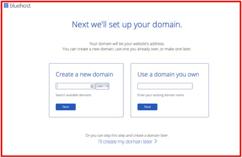 Come avviare un blog - Nome dominio Bluehost