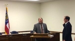 Ferrell is sworn-in by Pierce County Probate Judge Moye Howard