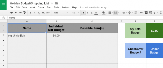 Holiday Budget Shopping List